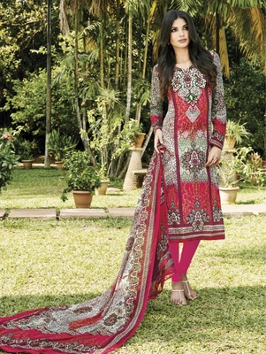 Red and Multicoloured Party Wear Straight Suit