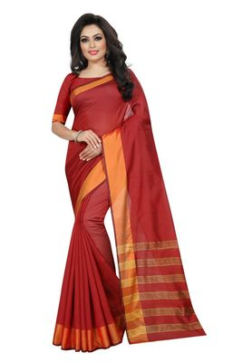 Red Cotton Silk Printed Saree with Blouse