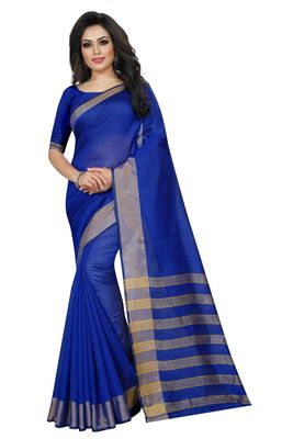 Blue Cotton Silk Printed Saree with Blouse