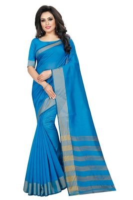 Light Blue Cotton Silk Printed Saree with Blouse
