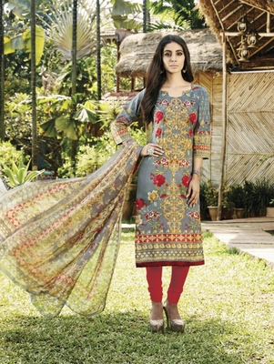Multicolor Dark Gray and Red Coloured Party Wear Straight Suit