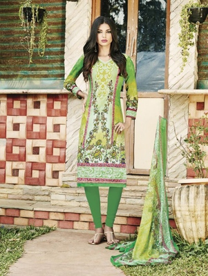 Multicolor and Green Party Wear Straight Suit