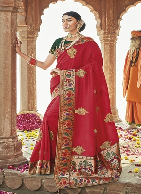 Red embroidered silk blend saree with blouse