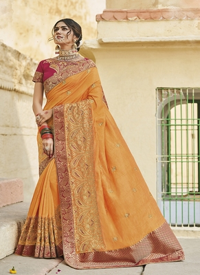Mustard embroidered cotton silk blend saree with blouse