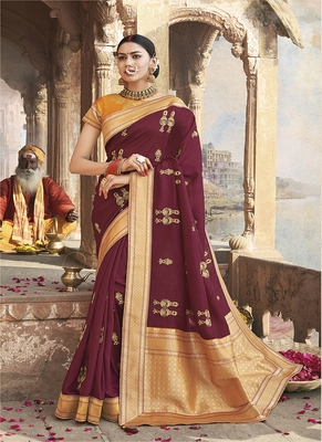 burgundy embroidered cotton silk blend saree with blouse