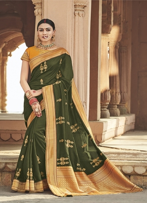Mehendi embroidered cotton silk blend saree with blouse