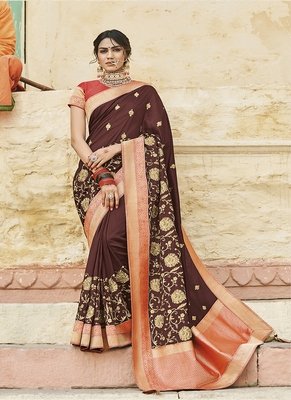 Brown embroidered cotton silk blend saree with blouse