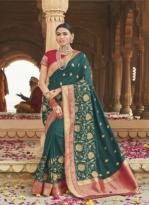 Dark teal embroidered cotton silk blend saree with blouse