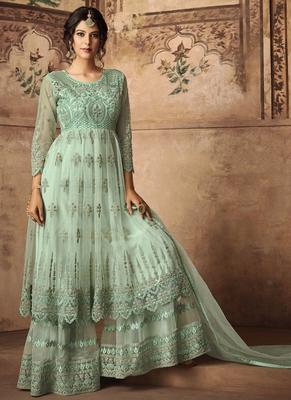 green work net semi stitched salwar with dupatta