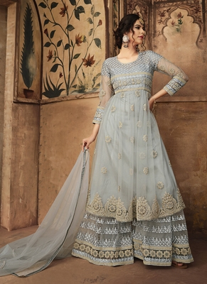 Multicolor work net semi stitched salwar with dupatta