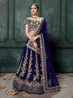Navy-Blue Embroidered Dupion Silk Semi Stitched Lehenga