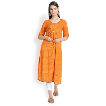 Orange plain rayon kurtas-and-kurtis