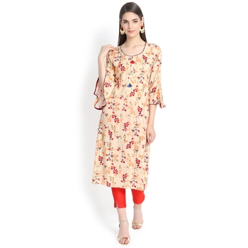 Beige plain rayon kurtas-and-kurtis