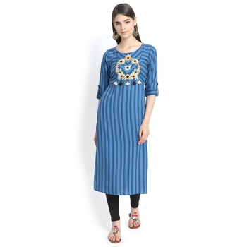 Blue plain rayon kurtas-and-kurtis