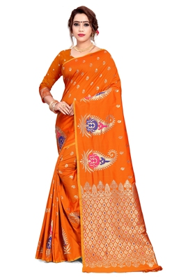 Orange woven art silk saree with blouse