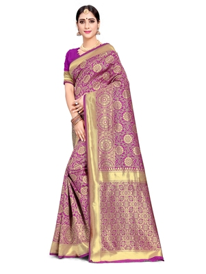 Purple woven art silk saree with blouse