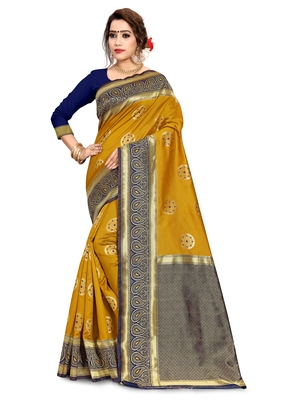 Mustard woven art silk saree with blouse