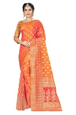 Orange woven banarasi silk saree with blouse