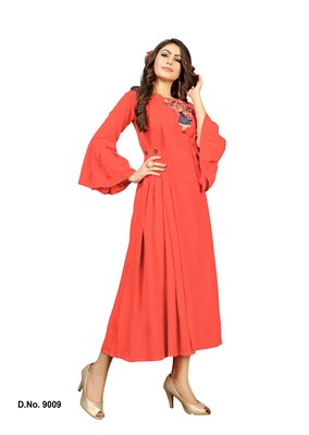 Orange embroidered rayon heavy-work-kurtis