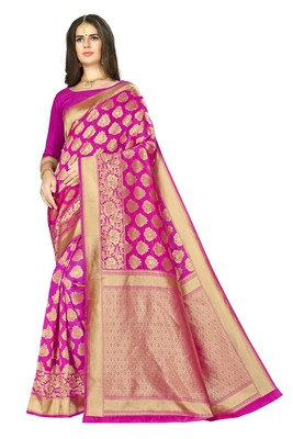 Pink woven banarasi silk saree with blouse