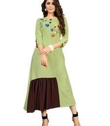 Green embroidered rayon embroidered-kurtis