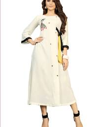 White embroidered rayon embroidered-kurtis
