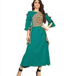 Cyan embroidered rayon ethnic-kurtis