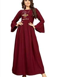 Maroon embroidered rayon long-kurtis