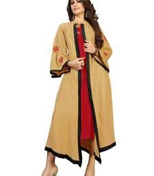Beige hand woven rayon ethnic-kurtis