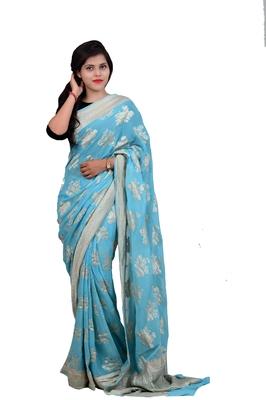 Sky Blue woven banarasi saree with blouse