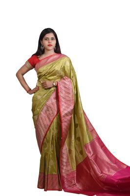 Mehendi hand woven katan silk saree with blouse