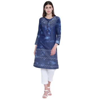 Blue printed cotton kurtas-and-kurtis