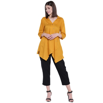 Yellow plain rayon kurtas-and-kurtis