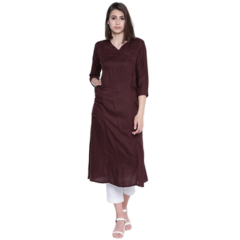 Brown plain rayon kurtas-and-kurtis