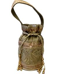 Buy Royal Raw Silk Batwa (Dark Gold) potli-bag online