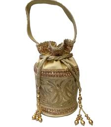 Buy Royal Raw Silk Batwa (Light Gold) potli-bag online