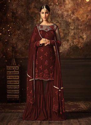 Wine embroidered net salwar