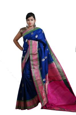 Blue hand woven pure katan silk saree with blouse