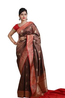 Brown hand woven pure katan silk saree with blouse