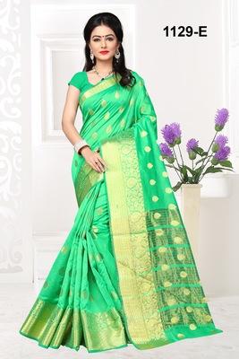 Green woven cotton silk saree with blouse
