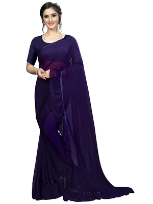 Dark blue plain georgette saree with blouse