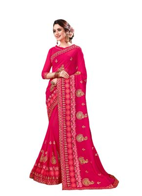Dark pink embroidered georgette saree with blouse