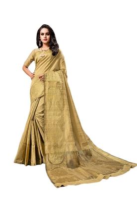 Golden woven cotton silk saree with blouse
