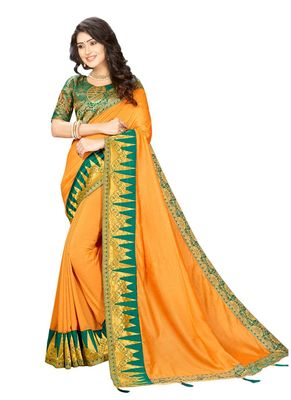 Mustard embroidered cotton silk saree with blouse