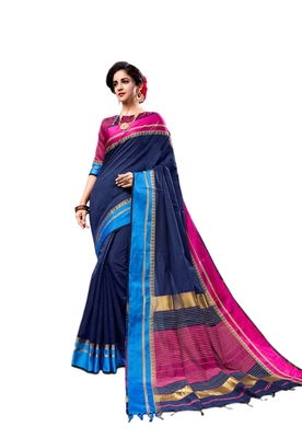 Navy blue woven cotton silk saree with blouse