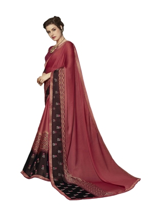 Pink embroidered georgette saree with blouse