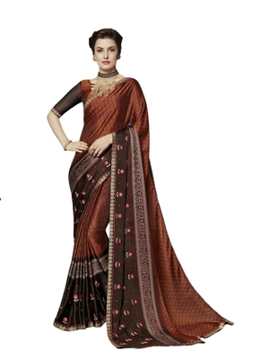 Rust embroidered georgette saree with blouse