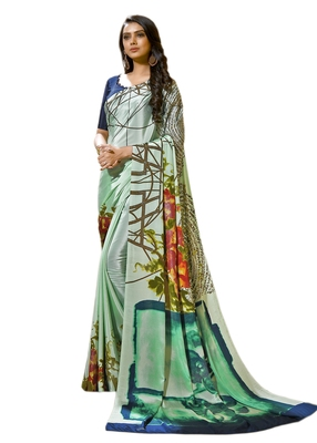 Rust  printed crepe saree with blouse
