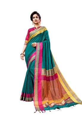 Teal woven cotton silk saree with blouse