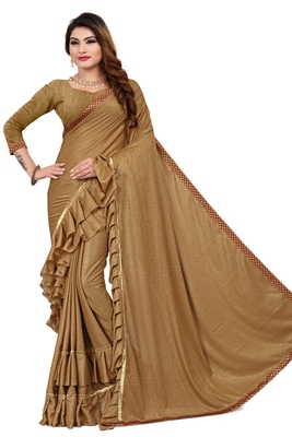 Beige woven lycra saree with blouse